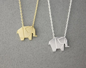 Origami Tiny elephant Pendant Necklace in silver/ gold