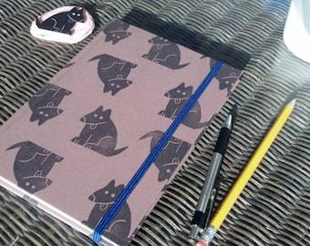 "Dog Pattern Hardcover Journal/Sketchbook - 5.5""x8"" - Blank Pages - 80 Pages - Elastic Closure, Ribbon Page Marker, Back Pocket"