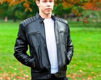 Black Leather Jacket - Mens Leather jacket - Biker Jacket - Leather Jacket Men - Motorcycle Jacket - Moto Jacket - 100% Lambskin - Branded