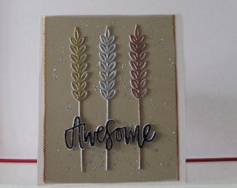Wheat ear card - Any occasion card - Blank double greeting card - Main card color is cream