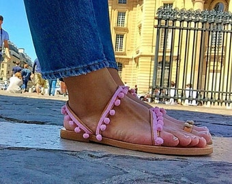 Pink Pom Pom Sandals, Leather Sandals Women, Handmade From Genuine Leather.