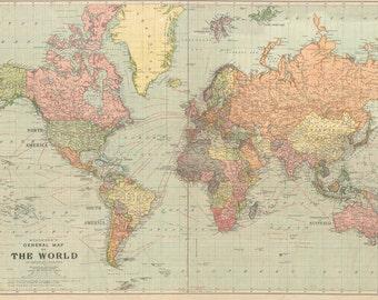 World map printable digital download. 1922 Vintage World Map. Old World Map- Art Image - Instant Digital Download.PRINTABLE map.MAP DIGITAL