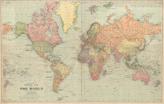 World map printable digital download 1922 vintage world map world map printable digital download 1922 vintage world map old world map art image instant digital downloadintable mapp digital gumiabroncs Image collections