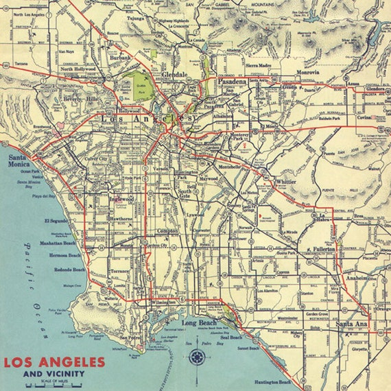 Los Angeles Digital Map Printable By AntiqueDigitalPrint