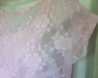 1980s Madonna Style, Midriff, Pink, Lace Shirt with Attached Inner Halter Top; Authentic 1980s Midriff Top; Small Midriff Lace Top from 80s