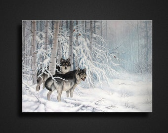 """Painting """"Wolves"""" .Oil painting on canvas. Beautiful home and office decoration.Modern painting."""