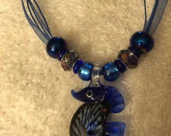 Blue Lampwork Murano Glass Seahorse Pendant Necklace