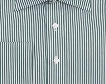 Slim fit green stripe double cuff custom fit shirt