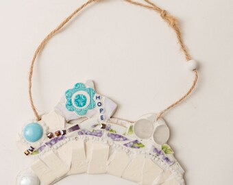 Mosaic Bunny// spring, hope, turquoise, violet, purple vintage plates, rebirth, mosaic wall hanging, mosaic art, mosaic rabbit, fun funky