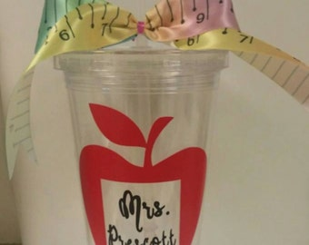 Teacher gift 16oz cup with lid and straw with SHIPPING