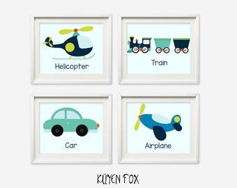 Transportation wall art - transportation nursery art - kids wall art - Nursery Decor - car nursery art - plane - helicoper - train wall art