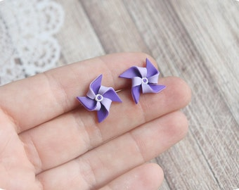 Origami earrings for girl gift Summer earrings for sensitive ears Pinwheel earrings purple jewelry Whirligig earrings Windmill jewelry gift