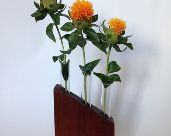 Angled wooden table vase - handmade with reclaimed timber and glass test tubes.