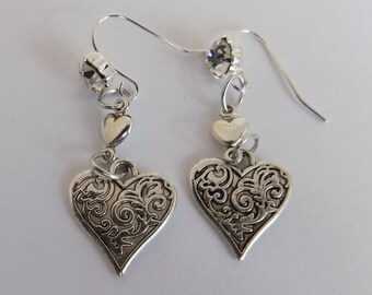 Filigree Etched Heart Earrings