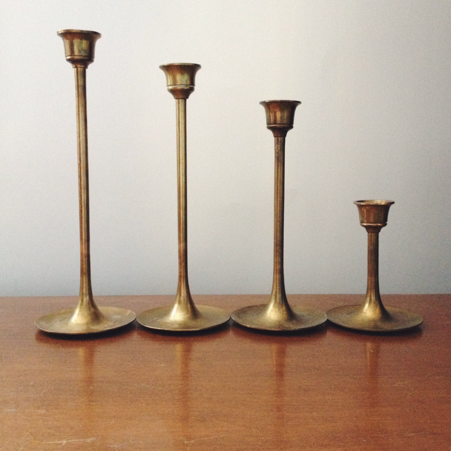 Vintage brass candle holders set of 4 home decor