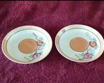 Pair of handpainted Trico Lusterware Saucers from Nagoya Japan