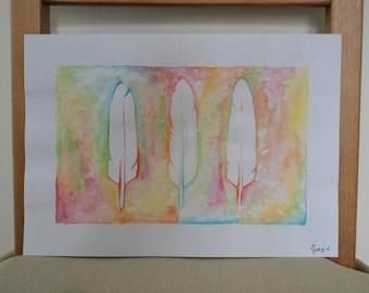 Original Watercolor Feather Art