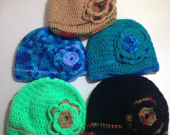 Ladies Crocheted Hat with Flower and Brim