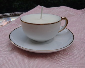 Unscented Soy Tiny Teacup Candle on Saucer - small gold and white - dye free, scent free - made in Portland, Oregon