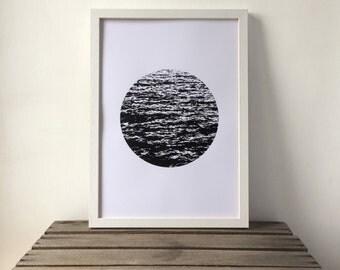 Sea Waves Print, Sea, Waves, Nautical Print, Black and White Print, Modern, A3 Art Print, Ocean, Screen Print, Gift Idea, Print
