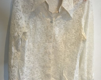 creme lace blouse by Sia Size L