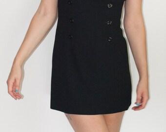 90s Black Double Breast Button Mini Dress