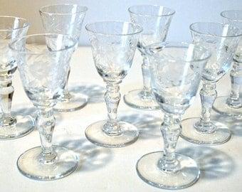 Antique Liqueur Glasses Set of 8