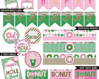 Donut Diva Digital Printable Girls Coffee Shop Birthday Party Printables Package INSTANT DOWNLOAD