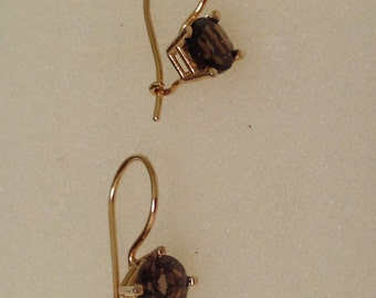 18K Yellow Gold Dangle Earrings Genuine Smoke Quartz