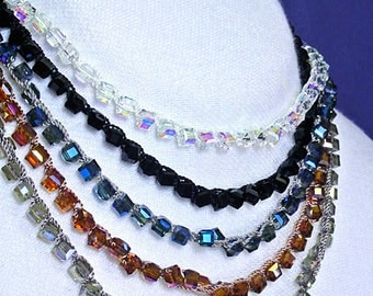 Cube Shaped Crystal Crochet Necklace