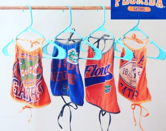 Upcycled Univeristy of Florida Gators Crop Top Custom Cropper Handmade Gainesville FL Halter G8R Lingerie Tie Neck Game Day Fashion UF