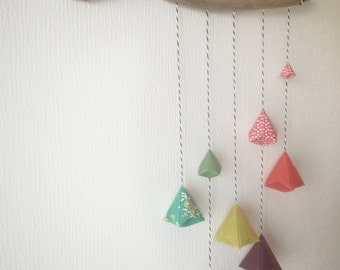 Vivid Colors Geometric Origami Mobile on Painted Driftwood , Wall Art , Nursery , Living Room Decoration.