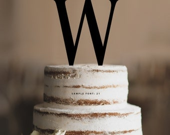 Personalized Monogram Initial Wedding Cake Toppers -Letter W, Custom Monogram Cake Toppers, Traditional Initial Toppers-(T285)