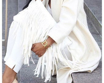 White Verge Fringe Clutch