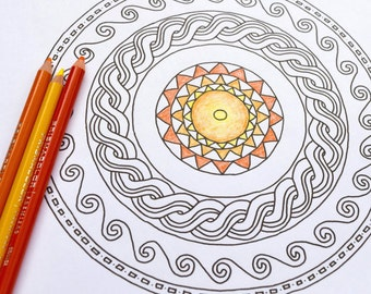 Greek Mosaic Coloring or Watercolor Pages with hand-drawn images // travel // gifts for travelers // gifts for history lovers // mandalas