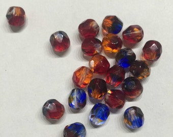 SALE - 20 piece gradient-glass cut beads-Red Blue Topaz - 6 mm - 20 Pack