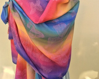 Rainbow Multicolour Pashmina with Butterfly Design