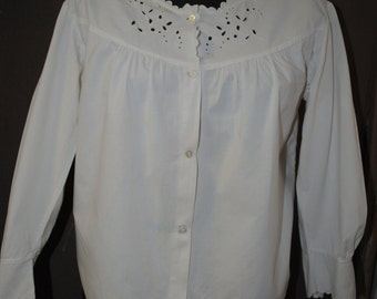 1950 white cotton blouse