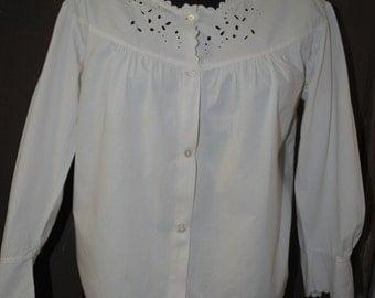 1950 white cotton blouse