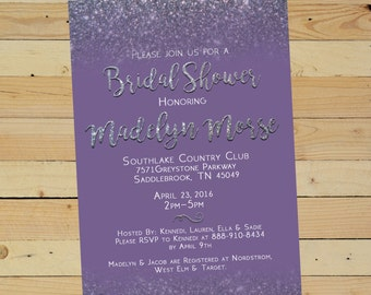 Starting at 9 dollars/set of 10 - 5x7 Glitter Shower Invitation - Printed cardstock - Purple, Pink or Turquoise- Envelopes Included!
