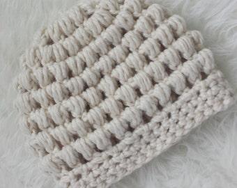 Adult Puff Stitch Beanie CROCHET PATTERN
