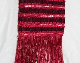 Vintage 90s Red Sequin Fringe Purse