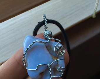 """wire wrapped blue lace agate """"the vortex"""""""