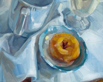 Doughnuts for Breakfast #5 (6x6 original oil painting by Shineh)