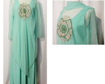 70s Mint Green Maxi Dress with Embroidered Sheer Cape