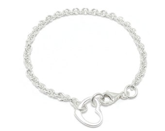 Silver Heart Charm Bracelet Open Heart Connector floating heart Bracelet Dainty silver bracelet bridal bracelet mothers day gift