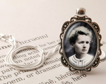 Marie Curie Pendant Necklace - Marie Curie Jewelry, Science Jewelry, Womens History, Feminist Necklace, Marie Sklodowska Curie Jewellery