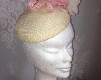 Bespoke Ivory fascinator with pink silk flowers