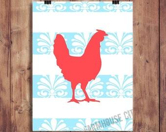 Rooster Art Print, Farmhouse Kitchen Art, Farm Animal, Vintage Home Decor, fixer upper wall art, Vintage Kitchen Decor, 8x10, silhouette art