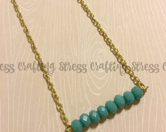 Aqua Beaded Bar Necklace